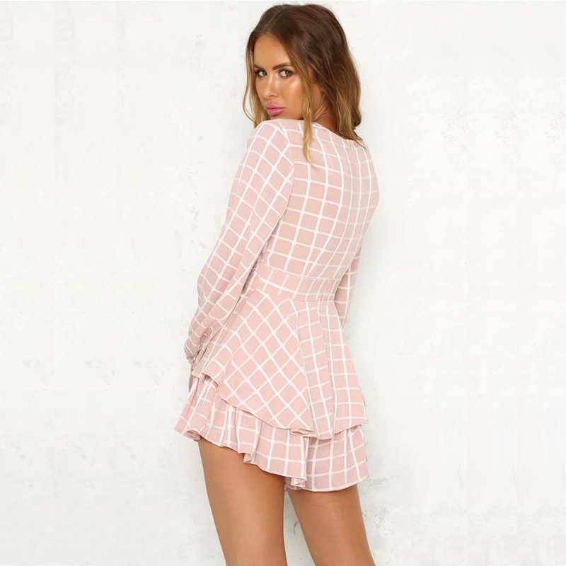 eb7d999226 yinlinhe Plaid Pink Summer Playsuit Overalls Women Long Sleeve V neck Sexy  Short Jumpsuit Women white Elegant Ruffle Rompers 376-in Rompers from  Women s ...