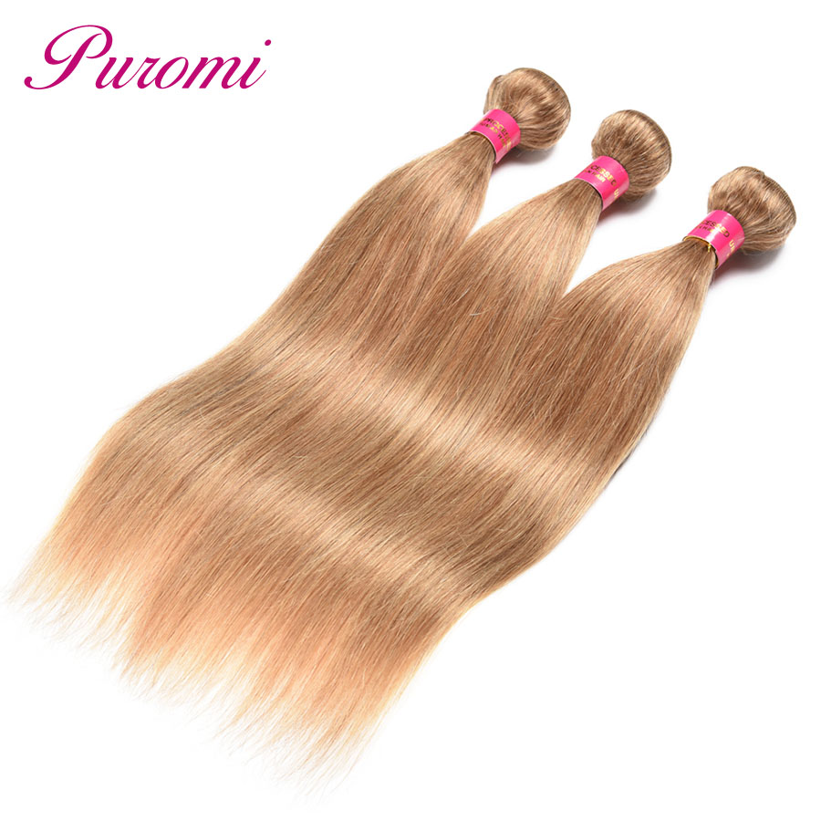 Puromi Hair Honey Blonde Malaysian Straight Pre Colored #27 Human Hair Weave 3 Bundles 100% Non-remy Double Weft Hair Extension Hair Extensions & Wigs Human Hair Weaves