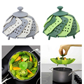 2016 Stackable Design Nylon And Silicone Steamer Folding Fruit Bowl Multifunction Steaming Rack Drawer Silicone Folding Steamer