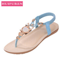 Free shipping sandals women 2018 summer shoes new Bohemia owl Beaded sandals  and toe beach shoes 08351ba18c24