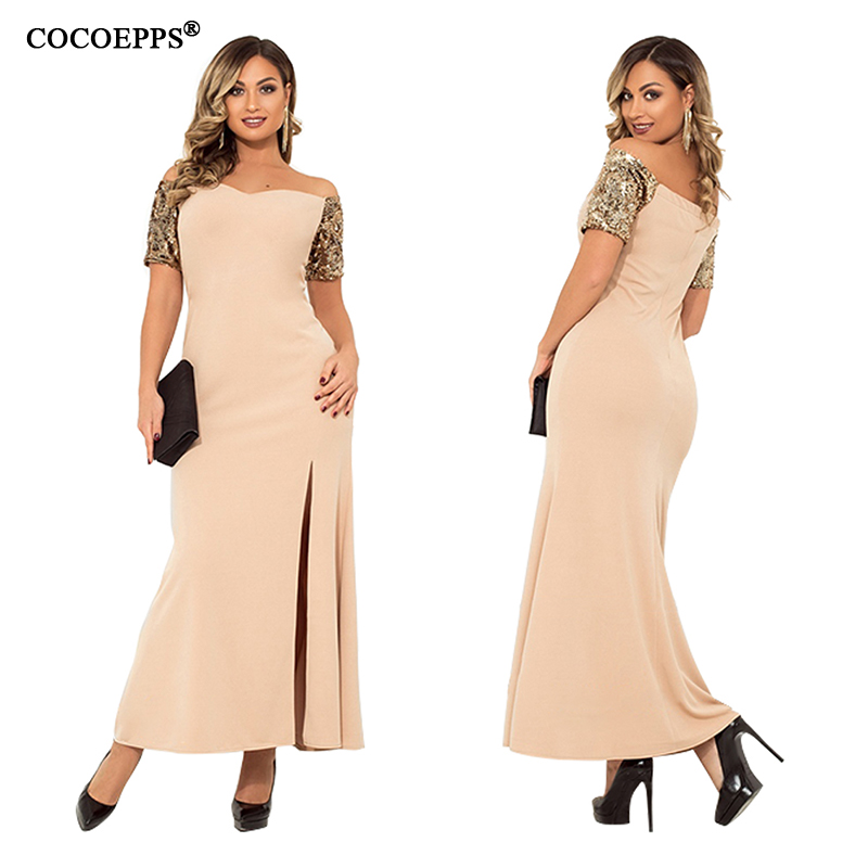 COCOEPPS Sequin Elegant Party Maxi <font><b>Dress</b></font> 2019 Summer Plus Size Women <font><b>Dresses</b></font> Long Club <font><b>Sexy</b></font> Large Size 5XL <font><b>6XL</b></font> Bandage Vestidos image
