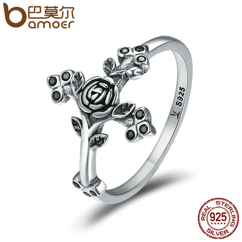 BAMOER Authentic 100% 925 Sterling Silver Love Beliefs Faith Cross Finger Rings for Women Sterling Silver Jewelry Anel SCR179