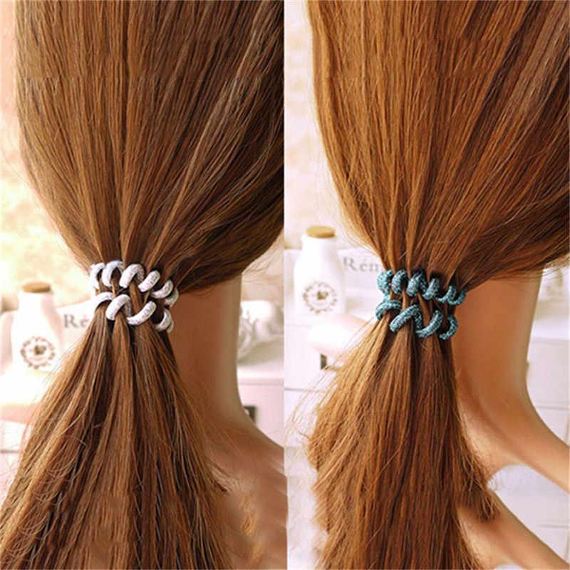 1 шт. разноцветные эластичные женские обручи эластичное украшение на голову для девочек спиральный конский хвост держатель резинки для волос Инструменты для укладки