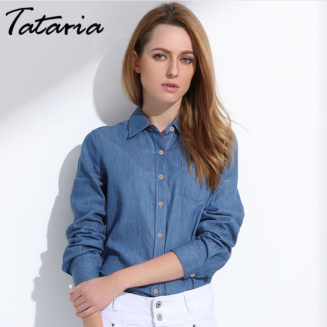 fa7242d40 Fashion Cotton Denim Jeans Shirts Women Blouses Long Sleeve Light Blue Denim  Shirts Women Tops Shirt Denim Female Clothing