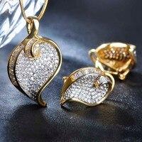 Requintado CZ Zirconia Jewelry Sets Necklace&Earrings Prong Setting Shining Crystal Heart Collier Aretes Bijoux de Mariage