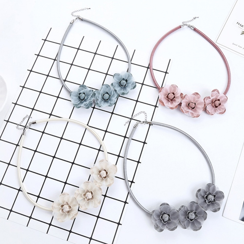1pc Fabric 4 Color Flowers Rope Choker Necklace Fashion Jewelry Party Gifts Shopping Collier Ras De Cou