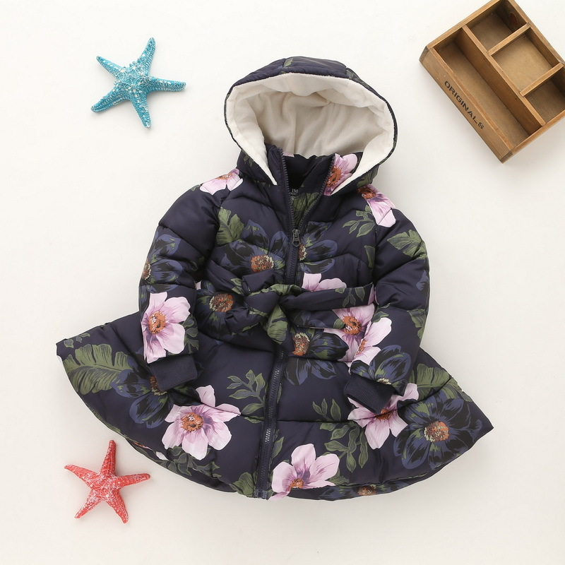 Winter Coat Kid Baby Girl Floral Print Hooded Jacket Girls Kids Padded Jacket Long Sleeve Bow