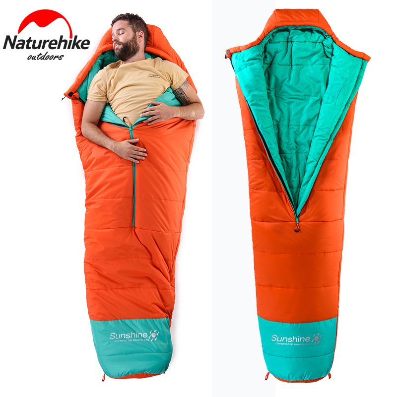 Naturehike Autumn Winter Warm Sleeping Bag for Hiking Camping Cotton Singer Adjustable Mummy Lazy Bag Ultraight Bags 210*80