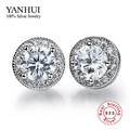 Vintage Round CZ Diamond Stud Earrings Wholesale 925 Sterling Silver Fashion Crystal Wedding Jewelry For Women Brincos BKE013