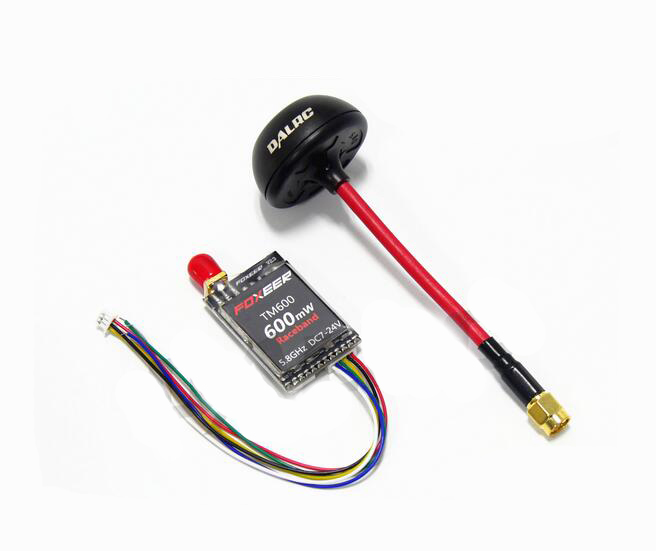 Foxeer TM200 / TM600 5.8GHz DC7-24V 40CH RaceBand Transmitter 200mW / 600mW with  Dalrc Mushroom antenna for FPV Quadcopter fpvok fpv 5 8 ghz 40ch rd40 raceband dual diversity receiver with a v and power cables