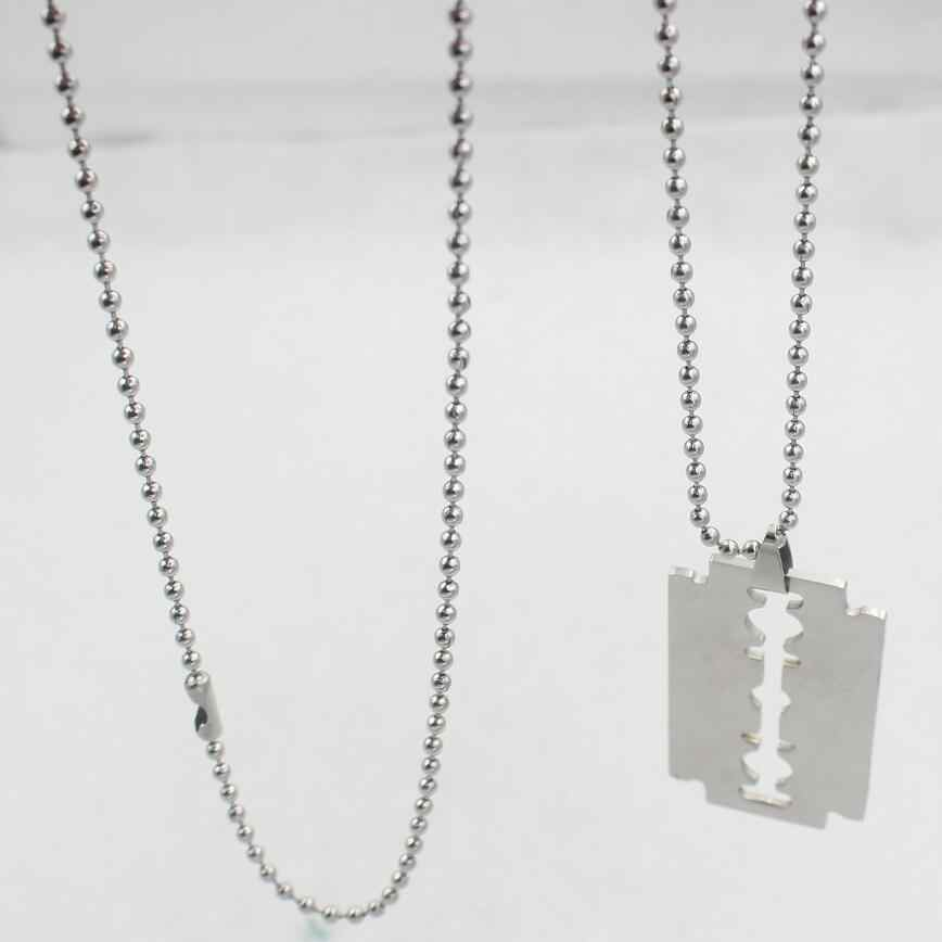 stainless steel Chic Shaving blade pendant necklaces 50 60 70 80cm beads chain for men women unisex jewelry wj183