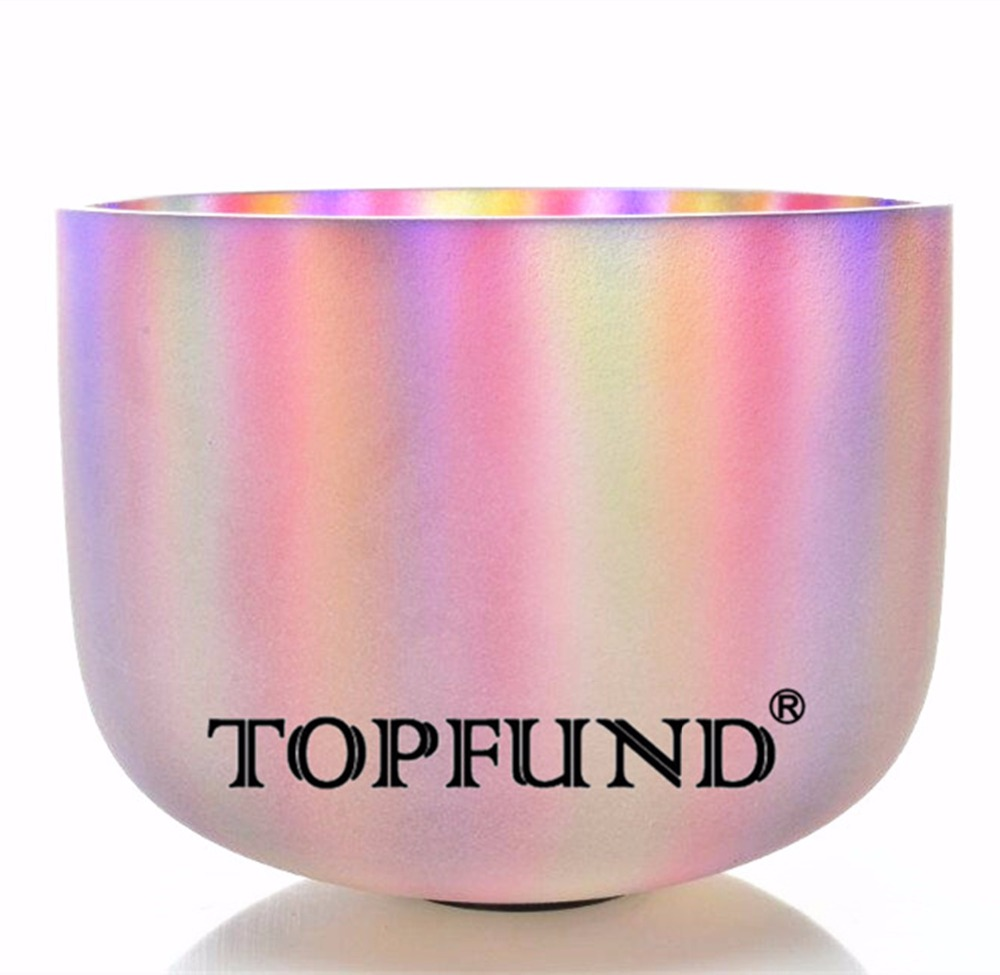 TOPFUND Perfect Pitch  F Heart Chakra Frosted Quartz Rainbow Color Crystal Singing Bowl 10