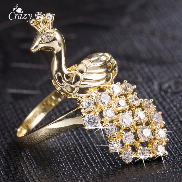 Crazy Feng Designer Jewelry Fashion Crystal Peacock Cubic Zirconia