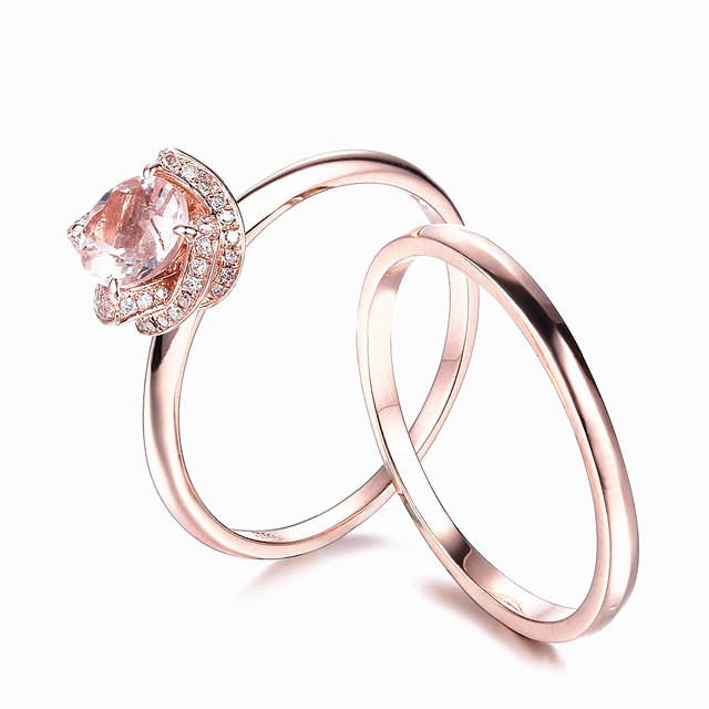 HELON Solid 10K Rose Gold Natural 6.5mm Round Morganite Natural Diamonds Ring Engagement Wedding Match Band Fine Jewelry