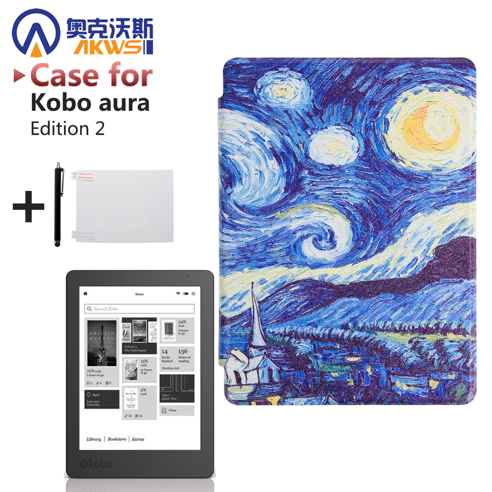 Print Pu Leather Case Flip Stand Cover for 2016 New Kobo Aura Edition 2 6'' Ereader + Protector Film + Stylus new pu leather e book smart magnetic case for kobo aura h2o edition 2 6 8 inch sleep protective cover screen protector stylus