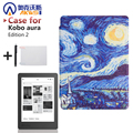 Print Pu Leather Case Flip Stand Cover for 2016 New Kobo Aura Edition 2 6'' Ereader + Protector Film + Stylus
