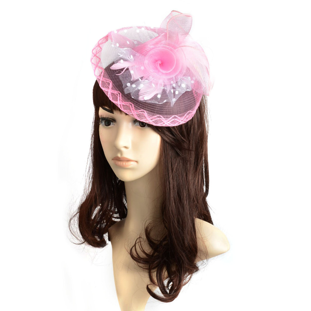 Brand New Pink Organza Feather Flower Hair Clip Wedding