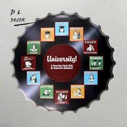 DL-uniwersytet Party przekazanie kapsle do butelek metalowe ściany sztuki plakietka Retro biuro Bar malarstwo Decor obraz olejny