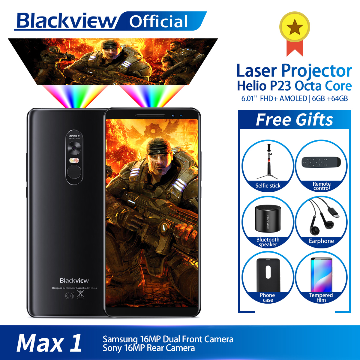 Blackview MAX 1 Wireless Projector Mobile Phone 6 01 AMOLED 4680mAh Android 8 1 6GB 64GB