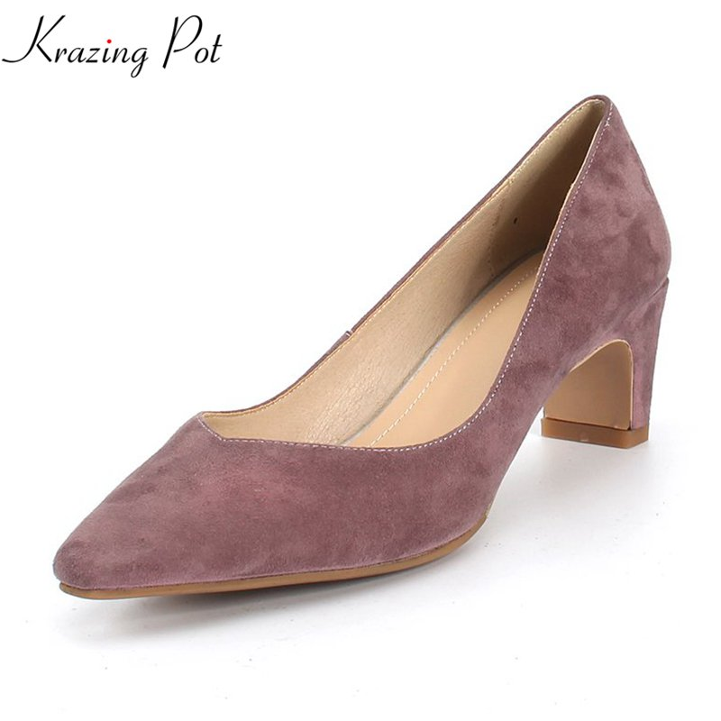 krazing Pot kid suede high street fashion simple style solid shallow shoes med heels square toe princess party women pumps L90 krazing pot kid suede zip breathable