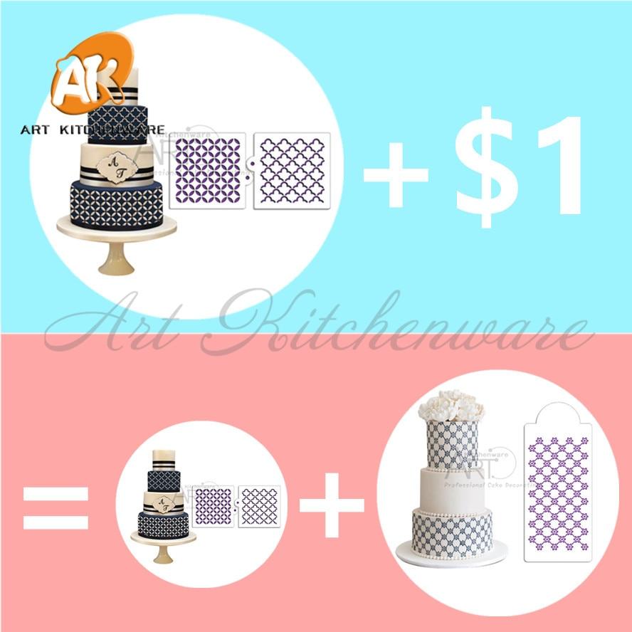 Stepēšana Miniprint Cookie Trafarets Fondant Dekorēšanas tortes trafarets kāzu tortes noformēšanai Plastmasas trafareta dekorēšanas forma ST-642