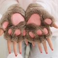 Mulheres Linda de Inverno Semi-dedo de Pelúcia Raposa Meninas Tela Sensível Ao Toque de Luva Mão Mais Quente Pata Kitty Engrosse Lady Fingerless Mitten para a Menina