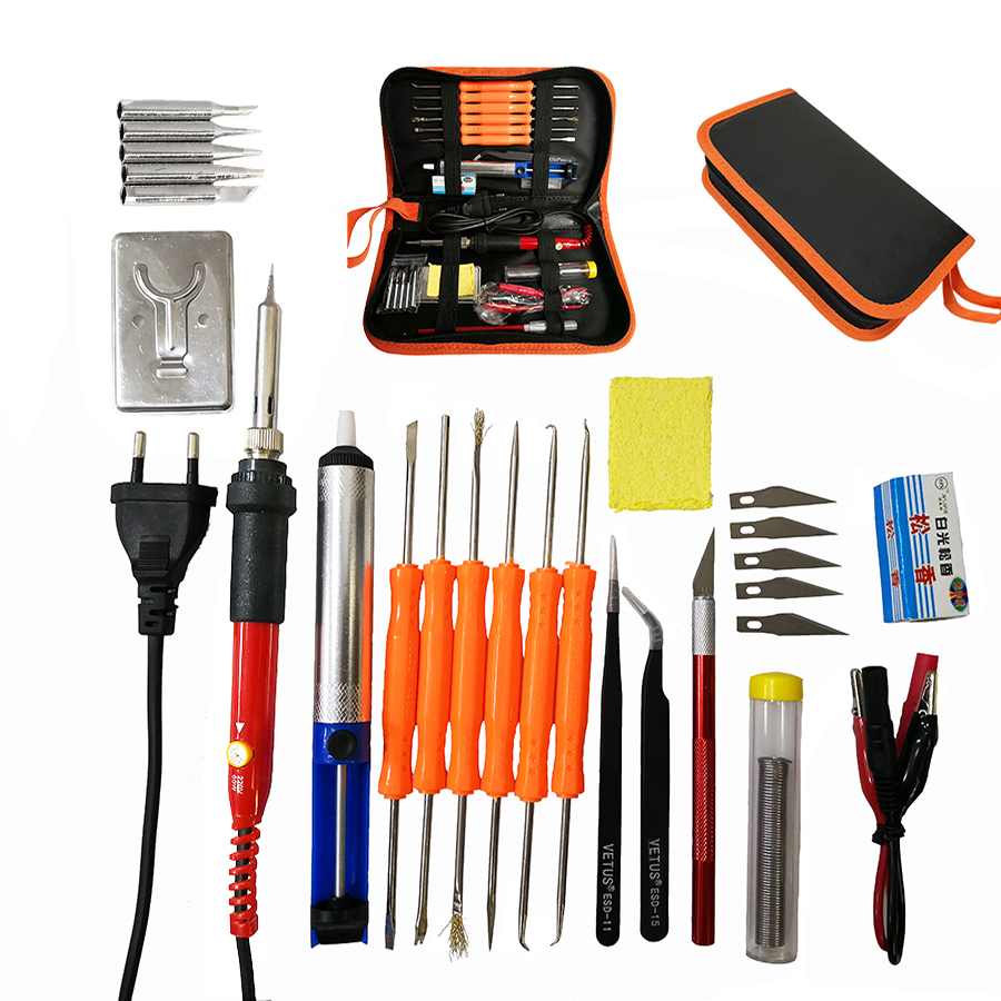 60W Temperature Adjustable Soldering Iron Electric Welding Solder Iron Station&soldering Iron Tips Repair Phones Computer Ts100