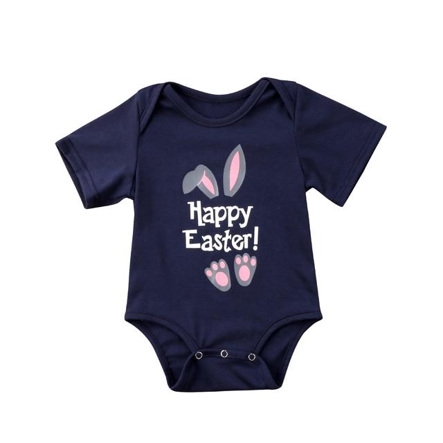 5291814ea Happy Easter Newborn Baby Girls Boys Clothe Cartoon Bunny Romper ...