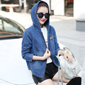 New 2016 Brand Womens Casual Denim Jacket Women Hooded Loose Windbreak Short Jeans Jackets Mujer Plus Size Washed Outwear Coat
