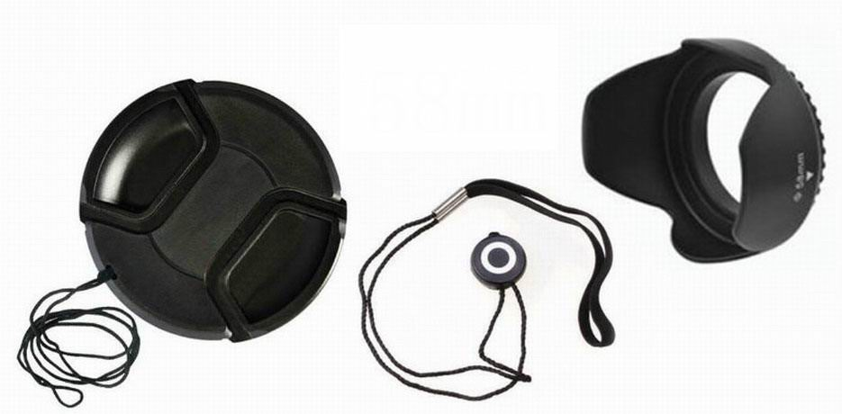 Beautiful 49 52 55 58 62 67 72 77mm Center Pinch Snap-on Cap Cover + Lens Cap Line + Lens Hood For Canon Nikon