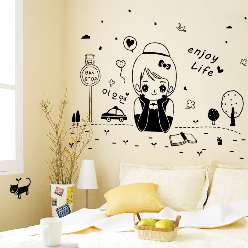 2017 New Design Creative DIY Cute Little Girl Home Decoration Wall ...