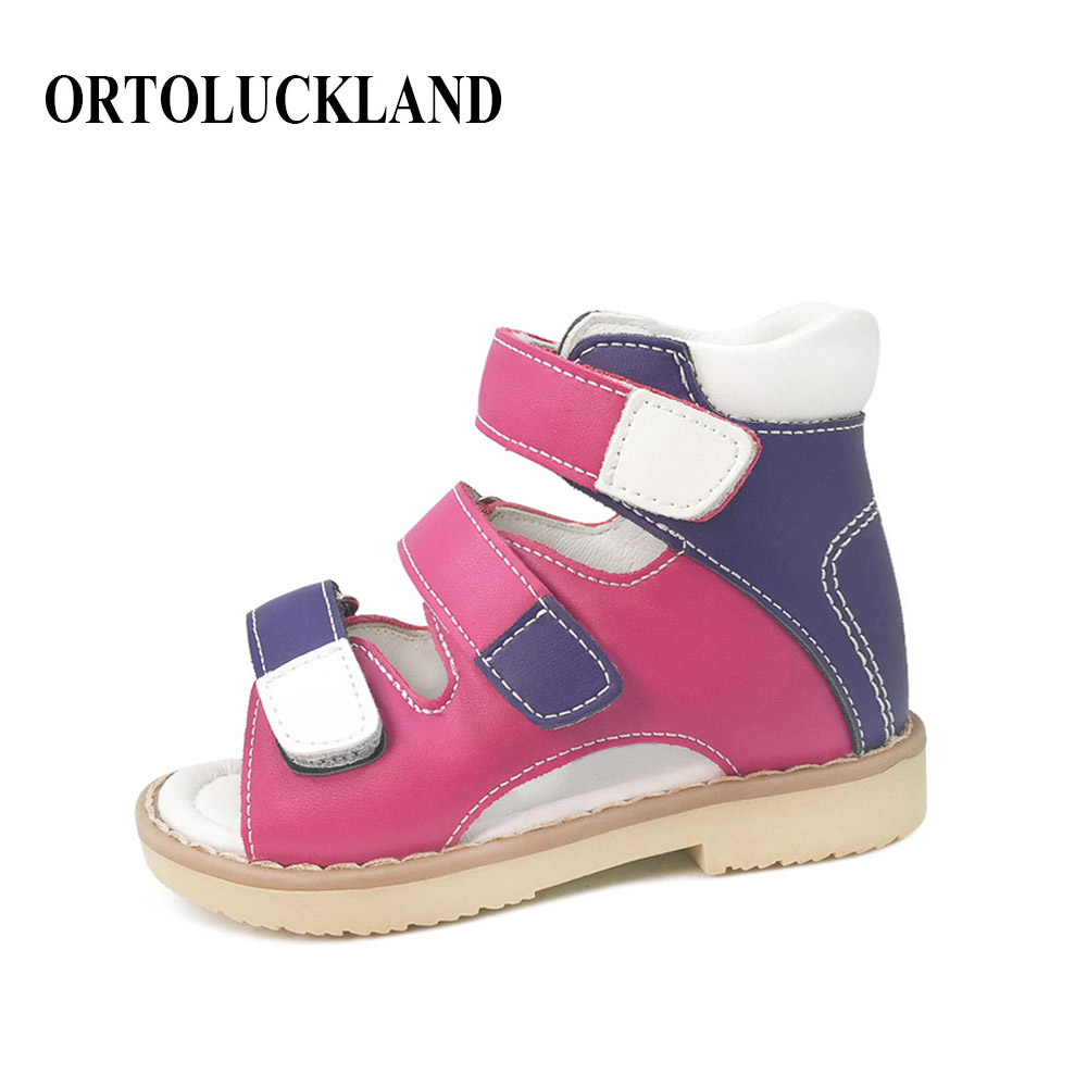 Mixed Color Simple Girls Orthopedic Sandals Children Genuine Leather Shoes Kids Summer Shoes