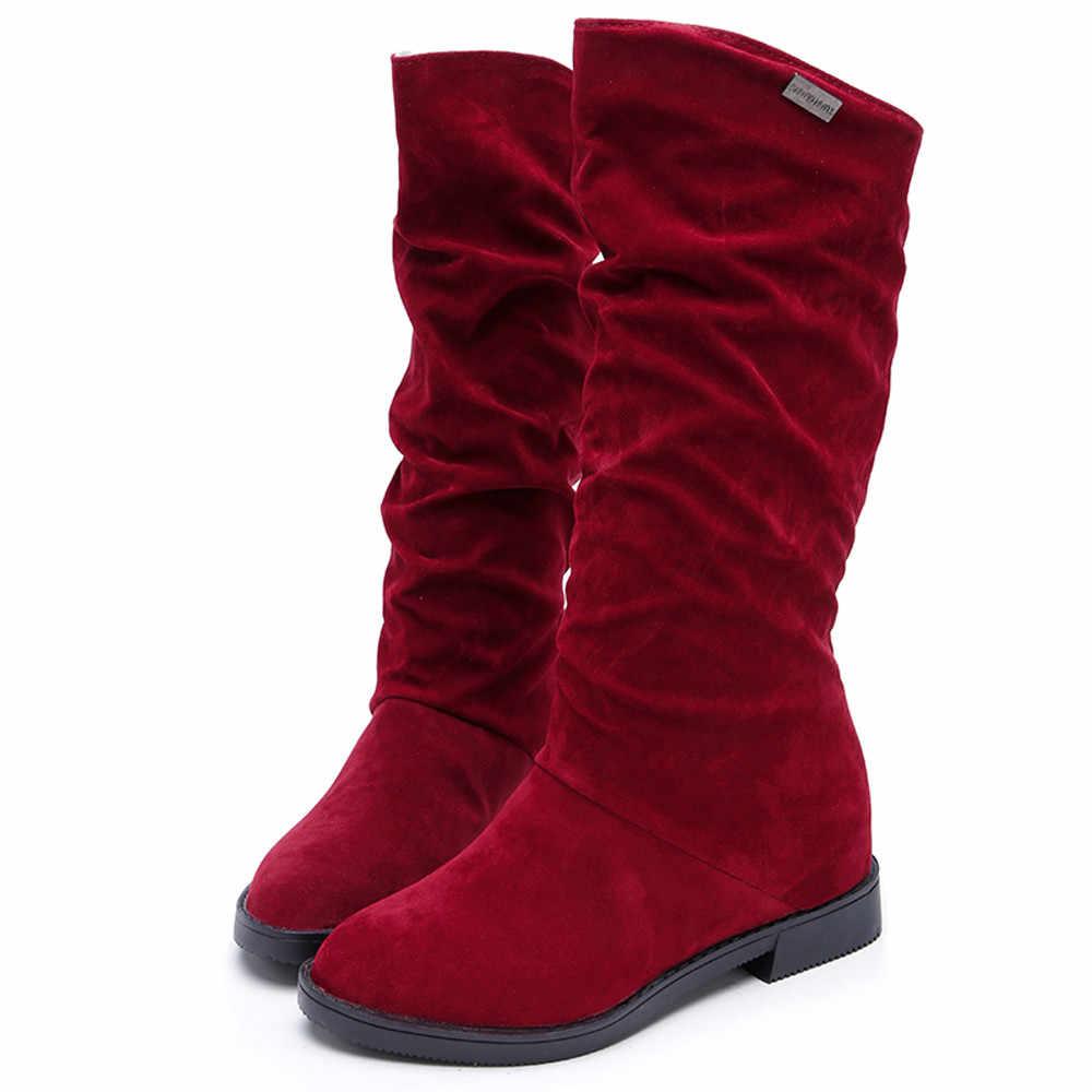 2019 Vrouwen Laarzen Herfst Winter Mid Martin Laarzen Merk Mode Vrouwelijke Stretch Katoen Slip-on Laarzen Platte Schoenen vrouw Z0419