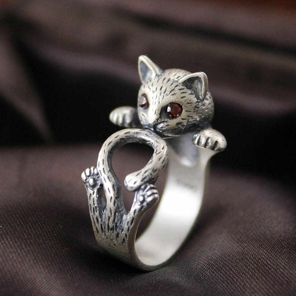 a7402f51054c Red eyes crystal Lucky Cat Thai Silver Ring Chinese retro jewelry fashion  lovely rings for women