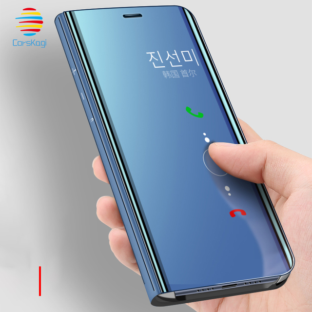 new arrival e9bc2 0b50a US $3.59 10% OFF|Smart View Flip Case For Huawei Mate 20 Lite X Pro P20 P30  Lite P Smart 2019 + Plus P 20 P 30 Mirror Stand Fashion Case Cover-in ...