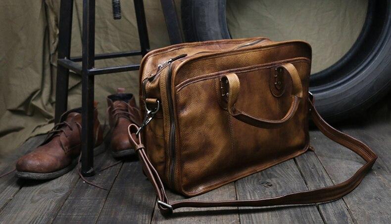 """Luxury Vintage Men Genuine Leather Briefcases Leather Men Briefcase Big Business Bag Male 15""""Laptop Bag Tote Handbag office Bag"""
