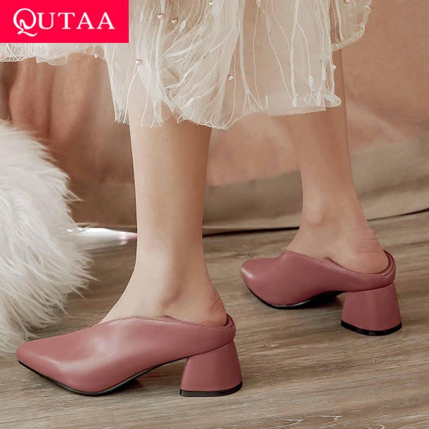 QUTAA 2020 Kadın Pompaları Moda Katır Kadın Ayakkabı Kare Yüksek Topuk Sivri Burun Pu Deri Rahat Klasik Bayan Pompaları Boyutu 34-43