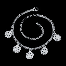 2016 New Fashion Silver Color Beach Anklet Double petals Pendant Ankle Bracelet Foot Jewelry for Women Anklets Bracelet for Gift