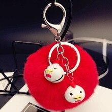 цена Fluffy Real Rex Rabbit Fur Pom Pom Animal Rooster Keychains Cartoon Chick Key Chains Bag Purse Pendant Charm Key Ring Holder онлайн в 2017 году