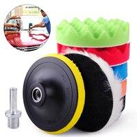 7pcs 6 150mm Car Polishing Waxing Buffing Wool Sponge Pads Kit Fit For Vehicle Polisher Buffer