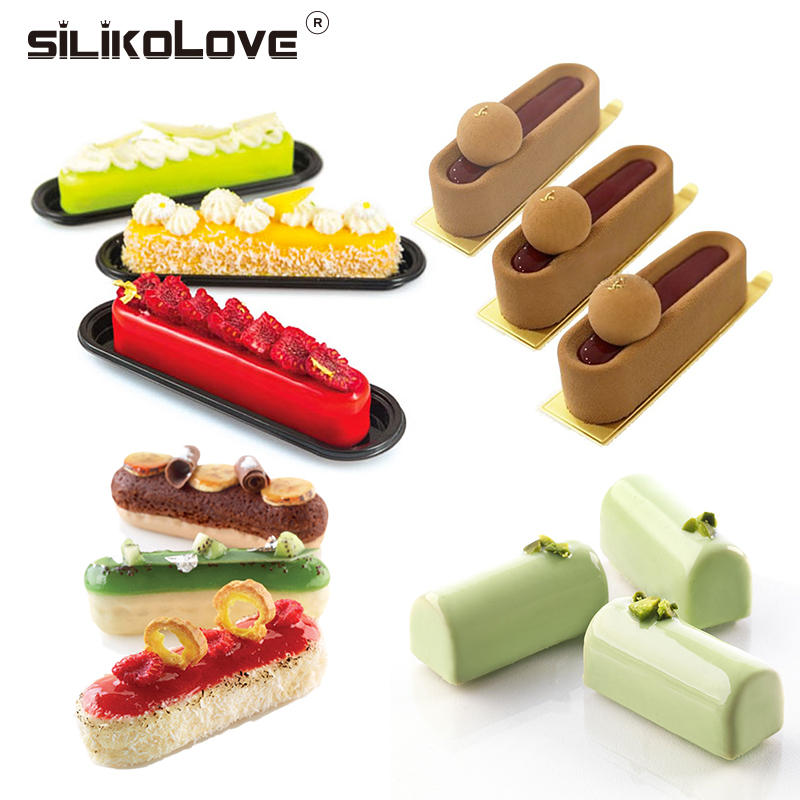 SILIKOLOVE Mousse Mold Silicone Food Strip Shaped Cake Tray DIY Mousse 4Style Series Cake Decoration Tools For Cakes Bakeware