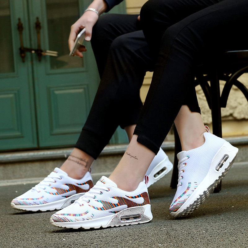 Max Sosa 2017 Lovers Embroidery White Shoes Breathable Mesh Sports Running Shoes men Summer Shoes Woman air 90 Flyknit sneakers