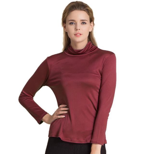 100% Pura Seda de la Mujer Camisetas Femme Primavera Otoño Mujeres de La Camiseta Da Vuelta-Abajo de Las Señoras Camiseta Floja Camisas Casuales Mujeres Tee Shirt Tops
