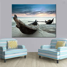 Modern Top-Rated Canvas Print Seascape Beach Boats Painting 1 Piece Art Style Picture Home Decorative Landscape
