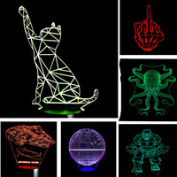 New Arrival Christmas New Year Gifts Fashion Atmosphere 3D Lamp Child Kid Bedroom LED Touch Remote