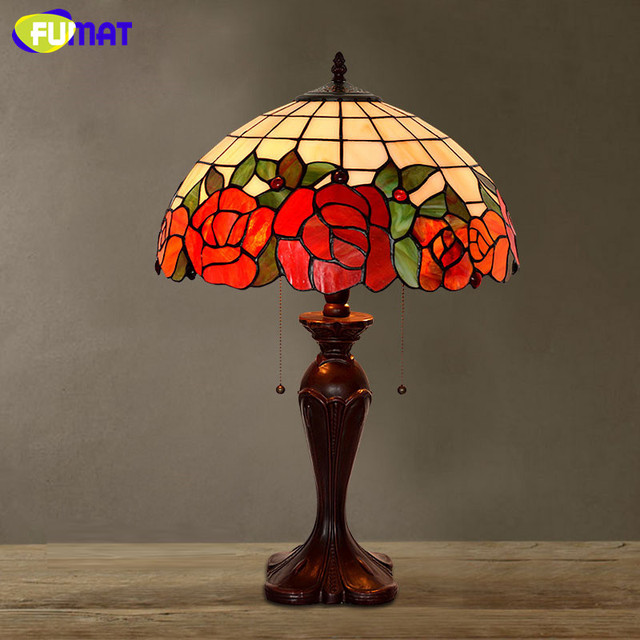 FUMAT Stained Glass Lamp European Style Table Lamp Bedside Lamp Retro LED Luxury Warm Lights For Living Room Table Lamp LED
