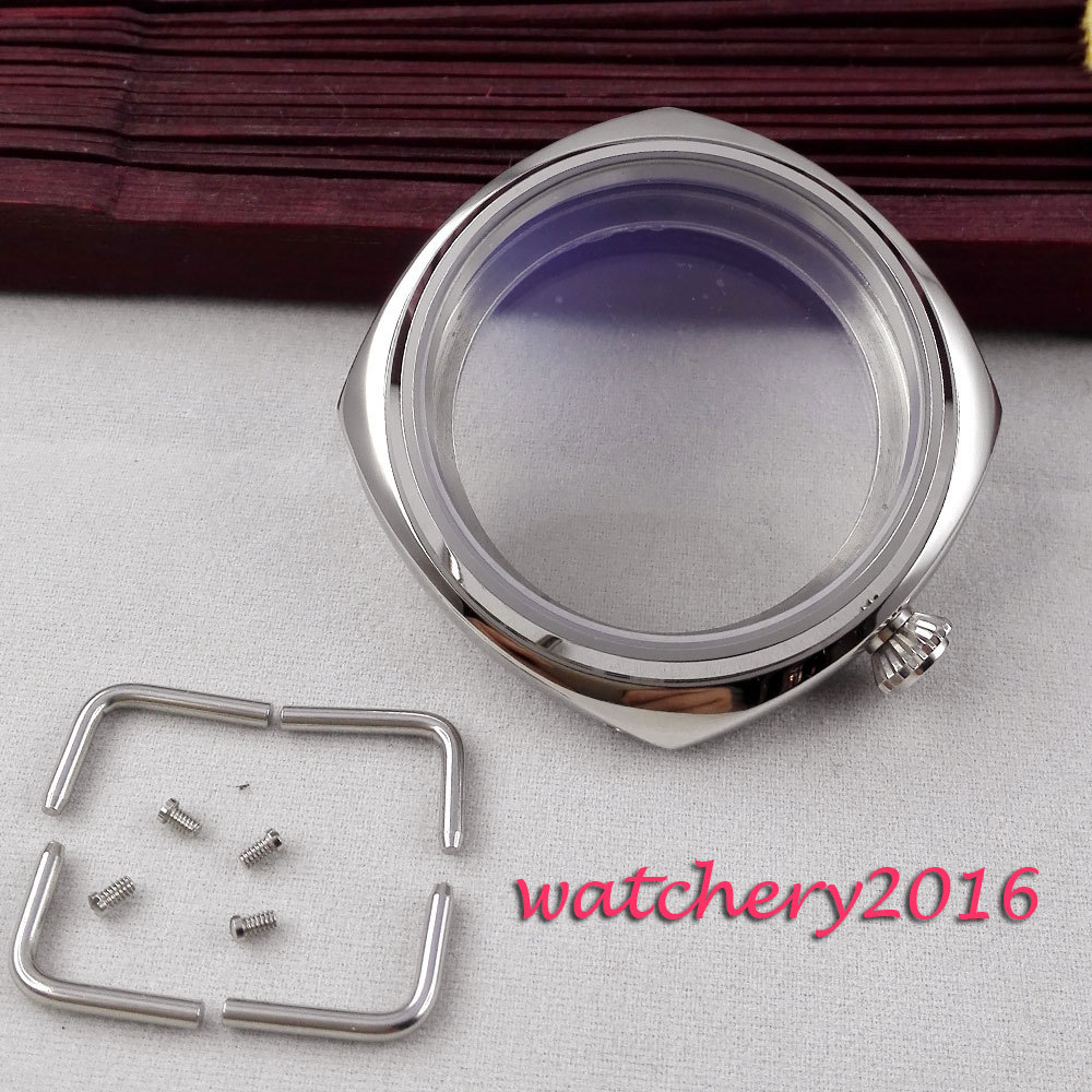 47mm parnis polished Solid 316L stainless steel case hardened font b mineral b font glass fit