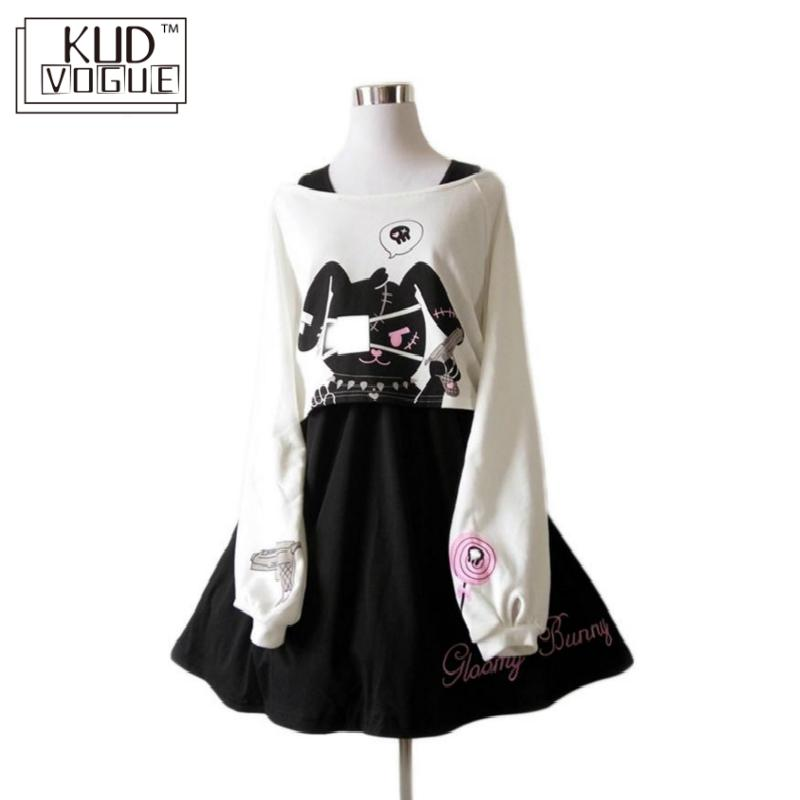 Black Comic Rabbit Lolita Dress Japanese Teens Kawaii Girls 2pcs Suit Sweet Cotton Dress Short Cute Bunny Print Long Sleeves Set