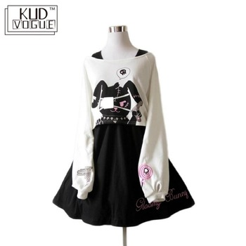 Black Comic Rabbit Lolita Dress Japanese Teens Kawaii Girls 2pcs Suit Sweet Cotton Dress Short Cute Bunny Print Long Sleeves Set цена 2017