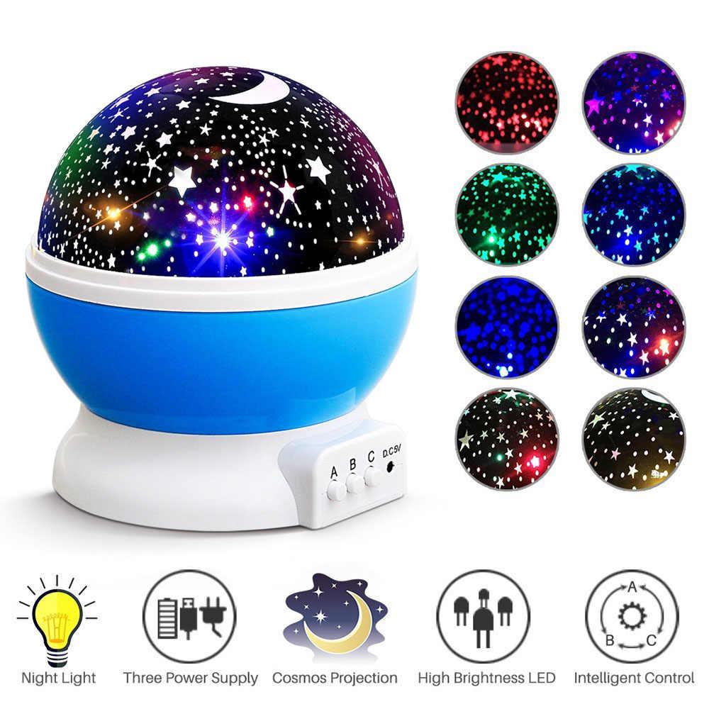 Pink Universal Romantic Star Sky Moon Projector LED Lighting for Children Kids Bedroom Star Light Rotating Projector Night Lighting Lamp